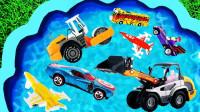 儿童玩具启蒙认知:油罐车、工程车、挖掘机、消防车、压路机、吊车、推土机!
