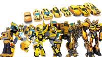 8辆变形金刚电影和动漫版汽车人大黄蜂机器人变形玩具展示