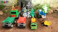 复仇者联盟和汽车帮忙组装挖掘机玩具,婴幼儿宝宝玩具过家家游戏视频I473