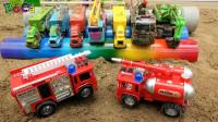 消防车清洗汽车挖掘机和工程车、货车玩具,婴幼儿宝宝玩具过家家游戏视频I465