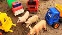 汽车工程车帮助运输车和动物,婴幼儿宝宝玩具过家家游戏视频B1432