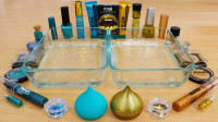 左边蓝色,右边金色化妆品混合做无硼砂泥,最后的效果美哒哒!