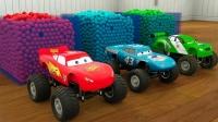 学习颜色施工车辆和儿童魔术球