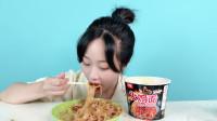 """妹子挑战""""国产火鸡面"""",这面也太好吃了,越辣越想吃!"""