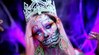 国外时尚美妆:女子骷髅女王妆容,妖艳惊悚