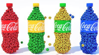 超漂亮!惊现4种颜色的可乐瓶爆开瞬间!会有什么神奇的事情发生?儿童玩具故事游戏