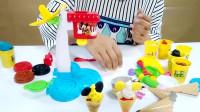 绒绒兔玩具:制作米奇冰淇淋彩泥,冰淇淋机