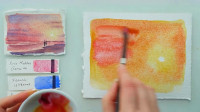 水彩手绘教程,新手向,粉色的落日,层层叠加出的美景,好美啊