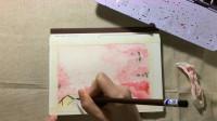 水彩手绘,简单水彩风景过程,粉色系色彩搭配,整体效果很梦幻