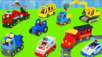 乐高积木挖掘机拖拉机消防车玩具拆箱