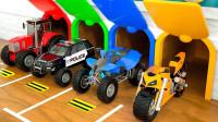 汽车摩托车穿越阻碍玩具展示