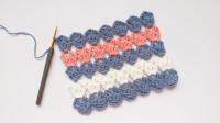 钩针编织 非常有创意的横钩拼色花样 实物效果满分