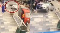 危险女司机油门当刹车,6秒后连撞数人卷入车底,网友:不能再放纵她们了!