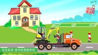 学校的操场又施工了,挖掘机卡车进进出出,建造什么呢?