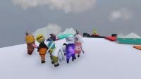 人类一败涂地-八个人手拉手搞笑玩滑冰 好嗨哦!