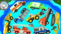 汽车玩具启蒙认知:卡车、铲车、翻斗车、警车、救护车、消防车、环卫车!