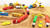 工程车玩具乐园:挖掘机、铲车挖掘沙子,翻斗车运输沙子建造桥梁隧道道路!