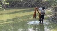 小伙发现河边水坑里有动静,赶紧回家拿来撒网,一网上来好几种鱼