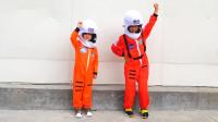 萌娃小可爱们乘坐火箭去到了太空空间站,小家伙们可真会玩呢!—萌娃:真是一次有趣的旅行!