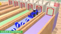 6辆装载机,从6个兔子窝里出来,推着6种颜色的彩蛋装卡车。