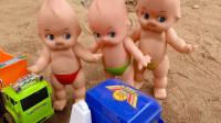 汽车和摩托车帮忙组装挖掘机和洒水车玩具,婴幼儿宝宝玩具过家家游戏视频F671