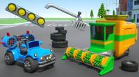 亲子早教动画拖拉机玩赛跑游戏拼装收割机学颜色