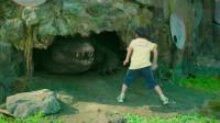 熊孩子闯进鳄鱼池竟还把鳄鱼当宠物喂,真是胆大包天!