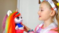萌娃小可爱的玩偶独角兽不经意间就长大了,真是有趣呀!—萌娃:是我眼花了吗?