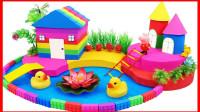 手工制作彩虹房子和小池塘