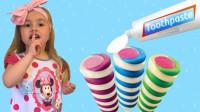 越看越好笑!为何小萝莉会在冰淇淋上挤牙膏?最后妈妈哭泣泣