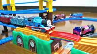开箱托马斯小火车彩虹桥和悬索桥 大型轨道玩具套装