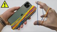 最新的iPhone上缠绕1000根皮筋,能让手机变形吗?一起来见识下!