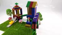 用彩色磁力球制作小朋友的游乐场
