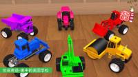 玩具拖拉机饿了,请挖掘机推土机压路机卡车帮忙,它们会帮它吗?