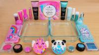 """用""""海马""""和""""熊猫""""做无硼砂泥,混合蓝色和粉色彩妆,会是什么颜色"""