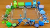 蓝色VS绿色:这两种颜色的小零件混入水晶泥,无硼砂,好好玩