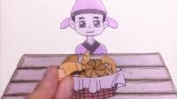 手绘定格动画:古风小哥吃播,给他吃点现代的面包,吃得惯吗