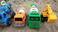 汽车挖掘机施工,组装搅拌车玩具,婴幼儿宝宝玩具过家家游戏视频M93