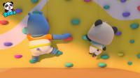 《宝宝巴士奇妙救援队》壁虎爬墙 胖河马和胖熊猫比赛攀岩