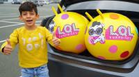 萌宝儿童益智玩具:小正太的玩具蛋突然变大,居然被他骑着走?