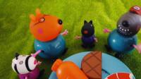佩奇益智玩具:狗爷爷带着棕熊医生,斑马苏怡野餐