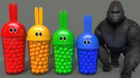 动物玩具儿童益智早教故事:大猩猩、河马、狮子怎么被关在兔子杯里?2分钟学会4种颜色