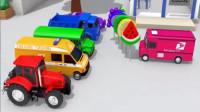 汽车玩具视频:五辆小汽车玩闯关游戏赢得棒棒糖送给粉色小车