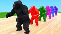 工程车运来了黑猩猩变色学习认识颜色和动物英语早教益智动画