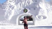 6旬老哥发出极限挑战,在零下40度的环境中,穿短裤向自己浇水