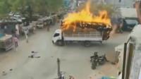 监控:大货车爆炸的前一秒,司机含泪把车开跑