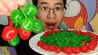 """眼镜哥吃趣味""""红绿樱桃"""",色泽鲜亮颜值高,水嫩香甜吃得嗨"""