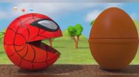 开心的吃豆人遇到装满糖果的兔子杯,怎么又变成了蜘蛛侠!吃豆人游戏