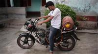 印度男子用煤气给摩托车加油,起步的那一瞬间,才是霸气的开始