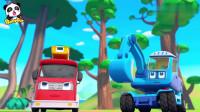 消防车,挖掘机,直升机,救援队紧急出动宝宝巴士动画片